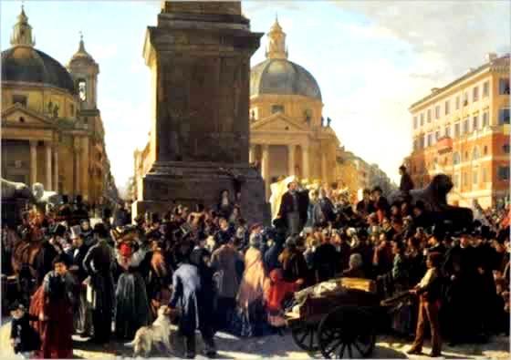 Ciceruacchio annuncia al popolo che Pio IX ha concesso lo Statuto