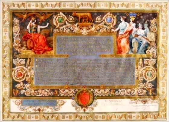 Diploma di cittadinanza romana conferito a Giovanni Barracco dal Comune di Roma, 1905