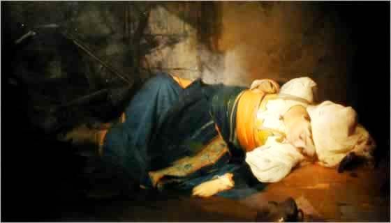 G. Induno 'Trasteverina uccisa da una bomba' part. 1850