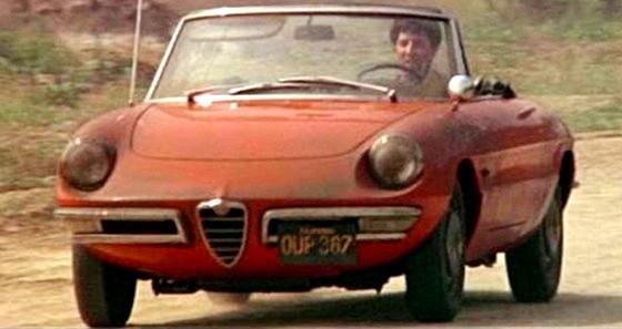 Dustin Hoffman sul Duetto Alfa Romeo nel film 'Il laureato'