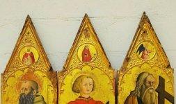 Maestro del Polittico di Roccanolfi, 'Sant'Antonio Abate, San Vito e Sant'Andrea'. Museo dell'Abbazia di Sant'Eutizio (Foto ©Massimo Achilli-SABAP Umbria)