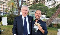 Lo Chef Renato Bernardi insieme a Stefano Pizzolato della storica azienda romana di biancheria 'Tebro'