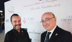 Lo Chef Renato Bernardi insieme all'Ambasciatore italiano nel Principato di Monaco, S.E. Cristiano Gallo