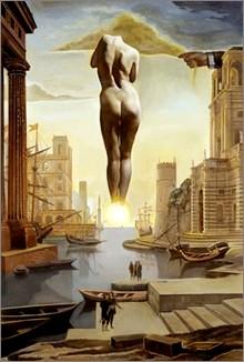 La mano di Dalì toglie il vello d?oro a forma di nuvola per mostrare per mostrare a Gala l?aurora dorata, completamente nuda, lontanissima dietro il sole, 1977