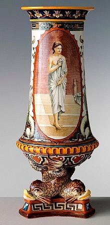 Vaso in maiolica di Doccia seconda metà del XIX secolo.