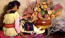 Joseph Henry Sharp, 'Crucita, ragazza indiana di Taos con antico vestito nuziale della tribù Hopi e fiori secchi', 1926-1928