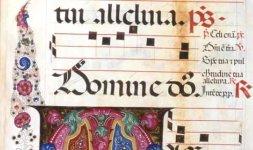 Corale 13.O, c. 59v e 60r, Siena, Duomo, Libreria Piccolomini (particolare)