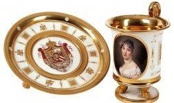 Manifattura Ginori, Tazza e piattino, ritratto di Elisa granduchessa di Toscana, Doccia 1812