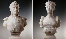 Joseph Chinard (Lione 1756-1813), Coppia di busti raffiguranti Elisa e Felice Baciocchi, principi di Lucca e Piombino, governatori della Repubblica, 1805