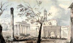 Foro romano con il tempio di Saturno e Arco di Settimio Severo