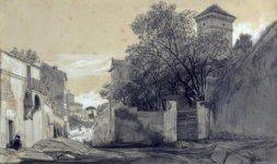 Ingresso di Villa Malta da via Capo le Case con sullo sfondo il Quirinale