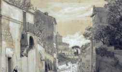 Ingresso di Villa Malta da via Capo le Case con sullo sfondo il Quirinale (Part)