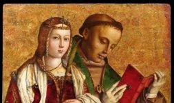 Francesco Zaganelli (1470ca.-1535 c.a), Santa Caterina d'Alessandria e San Ludovico da Tolosa, olio su tavola