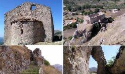 CAGGIANO -  Nelle due immagini sopra: la Chiesa e l'abside di Santa Venere. In quelle sotto la 'strada delle pietre' e l'arco naturale in cima al percorso (www.piegari.it)