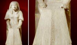 Statua di Maya, facente parte del gruppo statuario di Maya e Meryt - XVIII dinastia, regni di Tutankhamon (1333-1323 a.C.) e Horemheb (1319-1292 a.C.)