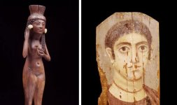 A sinistra Manico di specchio - XVIII dinastia (1539-1292 a.C.) A destra Ritratto femminile del Fayum - Epoca Romana (30 a.C.-395 d.C.)