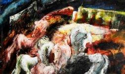 Gianni Testa, 'Bufera nella Città', 2000. Olio su tela, 60x80