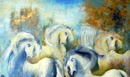 Gianni Testa, 'Cavalli', olio su tela, 60x80
