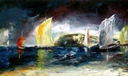Gianni Testa, 'La vela rossa', 1998, olio su tela 40x80