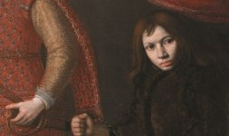 Domenico Casini (Firenze, 1588 - 1660) / Valore Casini (Firenze, 1590 - 1660) (qui attr.), 'Ritratto di Odoardo Farnese con un nano e un cane' (particolare)