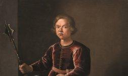 Anonimo pittore fiorentino della prima metà XVII secolo, 'Ritratto di nano con mazza ferrata e cane al guinzaglio'